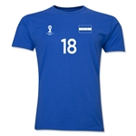 Honduras FIFA World Cup Brazil(TM) Men's Number 18 T-Shirt (Royal)
