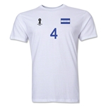 Honduras FIFA World Cup Brazil(TM) Men's Number 4 T-Shirt (White)