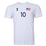 USA FIFA World Cup Brazil(TM) Men's Number 10 T-Shirt (White)