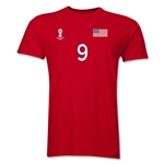 USA FIFA World Cup Brazil(TM) Men's Number 9 T-Shirt (Red)