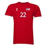 USA FIFA World Cup Brazil(TM) Men's Number 22 T-Shirt (Red)
