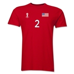 USA FIFA World Cup Brazil(TM) Men's Number 2 T-Shirt (Red)