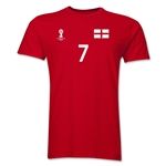 England FIFA World Cup Brazil(TM) Men's Number 7 T-Shirt (Red)