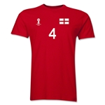 England FIFA World Cup Brazil(TM) Men's Number 4 T-Shirt (Red)
