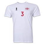 England FIFA World Cup Brazil(TM) Men's Number 3 T-Shirt (White)
