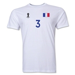 France FIFA World Cup Brazil(TM) Men's Number 3 T-Shirt (White)