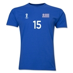 Greece FIFA World Cup Brazil(TM) Men's Number 15 T-Shirt (Royal)