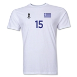 Greece FIFA World Cup Brazil(TM) Men's Number 15 T-Shirt (White)