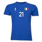 Italy FIFA World Cup Brazil(TM) Men's Number 21 T-Shirt (Royal)