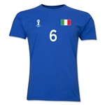 Italy FIFA World Cup Brazil(TM) Men's Number 6 T-Shirt (Royal)