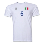 Italy FIFA World Cup Brazil(TM) Men's Number 6Premium T-Shirt (White)