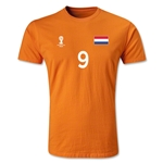 Netherlands FIFA World Cup Brazil(TM) Men's Number 9 Premium T-Shirt (Orange)