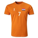 Netherlands FIFA World Cup Brazil(TM) Men's Number 7 Premium T-Shirt (Orange)