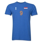 Netherlands FIFA World Cup Brazil(TM) Men's Number 9 Premium T-Shirt (Heather Royal)