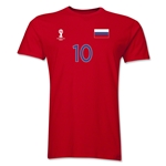 Russia FIFA World Cup Brazil(TM) Men's Number 10 Premium T-Shirt (Red)