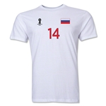 Russia FIFA World Cup Brazil(TM) Men's Number 14 Premium T-Shirt (White)