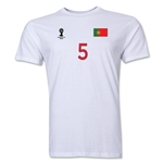 Portugal FIFA World Cup Brazil(TM) Men's Number 5 Premium T-Shirt (White)