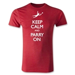 Keep Calm and Parry On Men's Fashion T-Shirt (Heather Red)