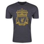 Liverpool Distressed Crest Men's Fashion T-Shirt (Dark Gray)