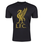 Liverpool Distressed Liver Bird Men's Fashion T-Shirt (Black)