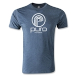 Puro Futebol Distressed Circle Logo Men's Fashion T-Shirt (Blue)
