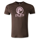 Puro Futebol Distressed Circle Logo Men's Fashion T-Shirt (Brown)
