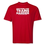 Switzerland 2014 FIFA World Cup Brazil(TM) Men's Trains Harder T-Shirt (Red)