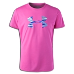 Under Armour Girls Big Logo Tech T-Shirt (Pink/White)