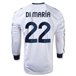 Real Madrid 12/13 DI MARIA LS Home Soccer Jersey