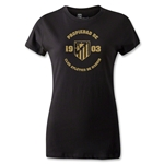 Atletico Madrid Distressed Property Women's T-Shirt (Black)