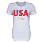 USA CONCACAF Gold Cup 2015 Women's Big Logo T-Shirt (White)