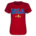 USA CONCACAF Gold Cup 2015 Women's Big Logo T-Shirt (Red)