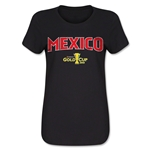 Mexico CONCACAF Gold Cup 2015 Women's Big Logo T-Shirt (Black)
