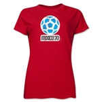 1970 FIFA World Cup Mexico Women's Historical Emblem T-Shirt (Red)