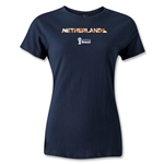 Netherlands 2014 FIFA World Cup Brazil(TM) Women's Palm T-Shirt (Navy)