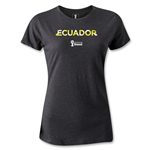 Ecuador 2014 FIFA World Cup Brazil(TM) Women's Palm T-Shirt (Dark Grey)