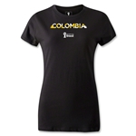 Colombia 2014 FIFA World Cup Brazil(TM) Women's Palm T-Shirt (Black)