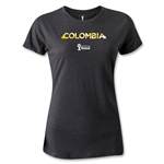 Colombia 2014 FIFA World Cup Brazil(TM) Women's Palm T-Shirt (Dark Grey)