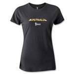 Australia 2014 FIFA World Cup Brazil(TM) Women's Palm T-Shirt (Dark Gray)