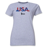 USA 2014 FIFA World Cup Brazil(TM) Women's Palm T-Shirt (Grey)