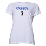 Greece 2014 FIFA World Cup Brazil(TM) Women's Core T-Shirt (White)