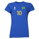 Brazil 2014 FIFA World Cup Brazil(TM) Women's Number 10 T-Shirt (Royal)