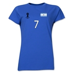 Argentina 2014 FIFA World Cup Brazil(TM) Women's Number 7 T-Shirt (Royal)