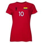 Colombia 2014 FIFA World Cup Brazil(TM) Women's Number 10 T-Shirt (Red)