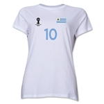 Uruguay 2014 FIFA World Cup Brazil(TM) Women's Number 10 T-Shirt (White)