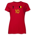 Belgium 2014 FIFA World Cup Brazil(TM) Women's Number 10 T-Shirt (Red)