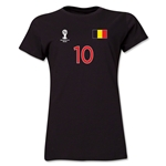 Belgium 2014 FIFA World Cup Brazil(TM) Women's Number 10 T-Shirt (Black)