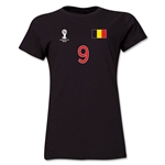Belgium 2014 FIFA World Cup Brazil(TM) Women's Number 9 T-Shirt (Black)