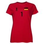 Germany 2014 FIFA World Cup Brazil(TM) Women's Number 1 T-Shirt (Red)