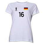 Germany 2014 FIFA World Cup Brazil(TM) Women's Number 16 T-Shirt (White)